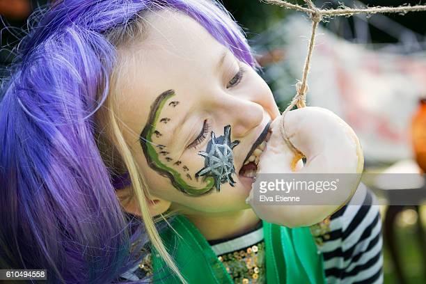 Girl playing halloween game