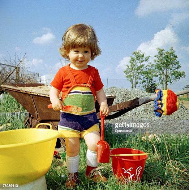Girl playing in garden