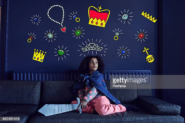 girl playing make believe - crown stock pictures, royalty-free photos & images