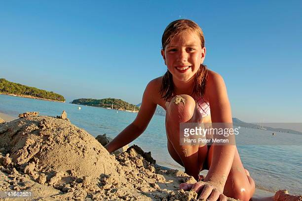 girl playing on the beach, Playa Formentor