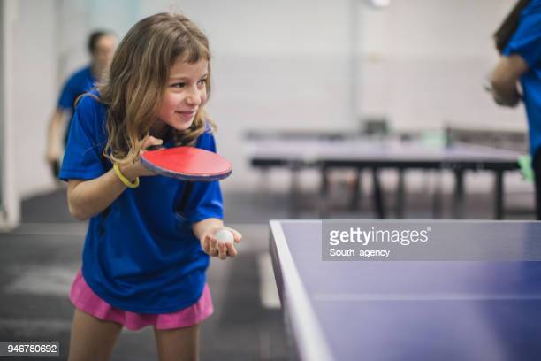 Girl playing table tennis