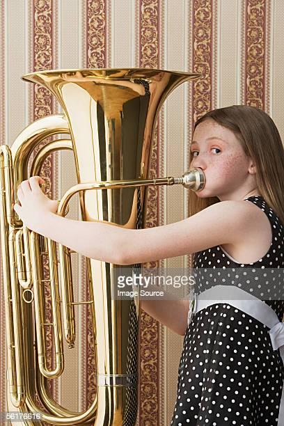 Girl playing tuba