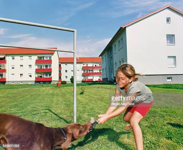 girl playing tug of war with dog - dogs tug of war stock pictures, royalty-free photos & images