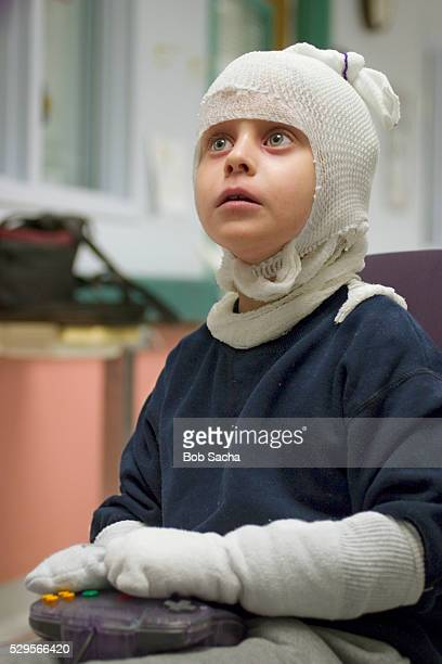 Girl Playing Video Game in Hospital