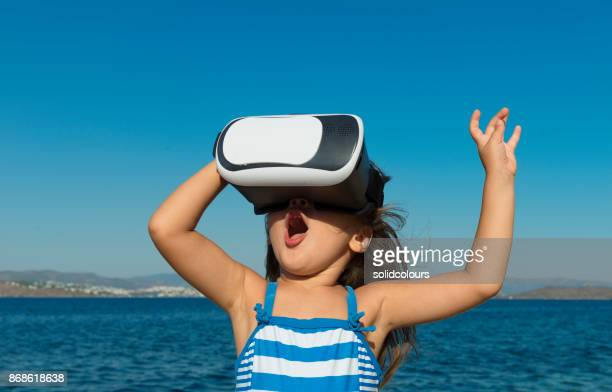 Girl playing virtual glasses