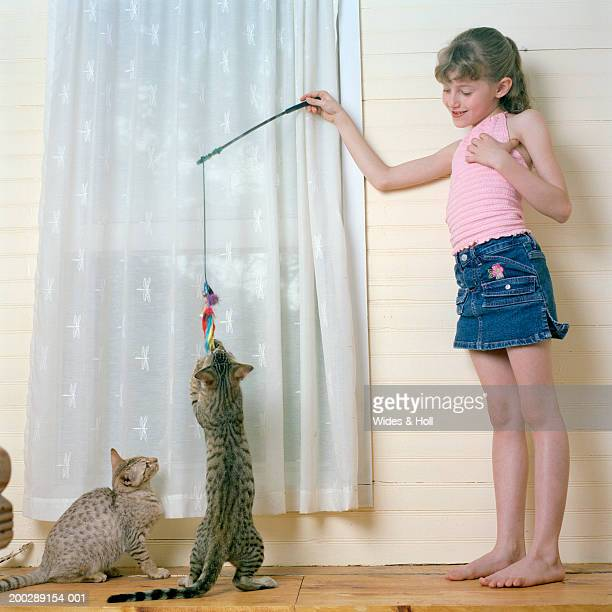 Girl (8-10) playing with cats near window, smiling