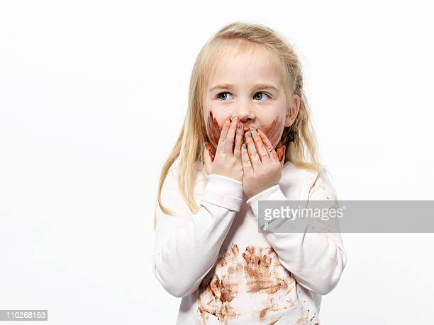 girl playing with chocolate sauce - dirty little girls photos stock pictures, royalty-free photos & images