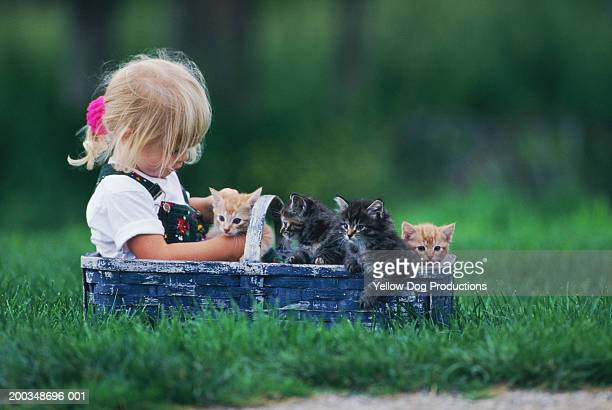 Girl (3-5) playing with kittens in basket, side view