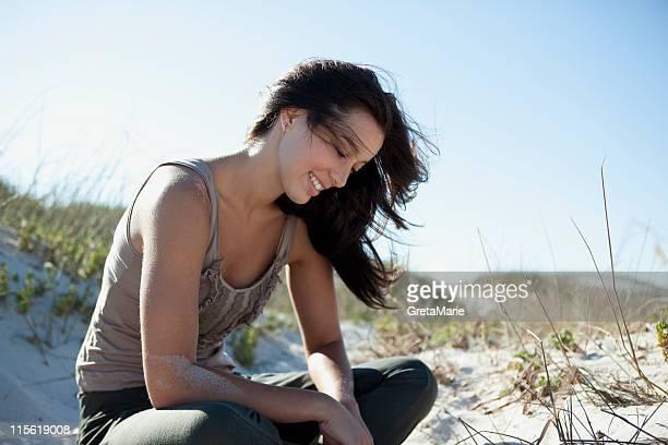 Girl playing with sand
