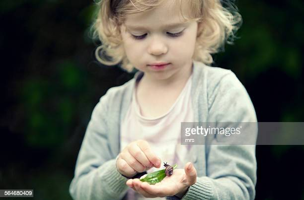 girl playing with snail - garden snail stock photos and pictures