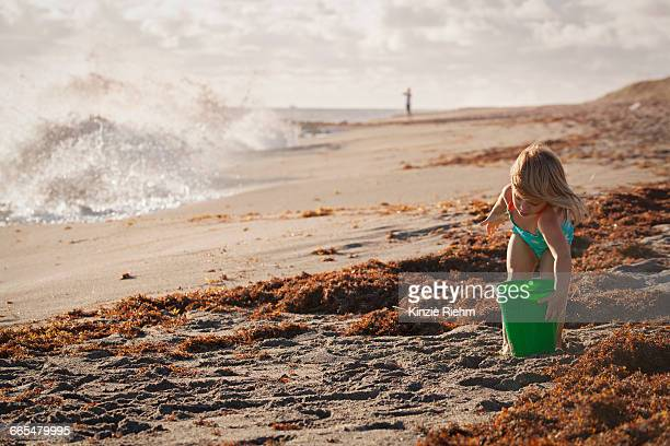 girl playing with toy bucket on windy beach, blowing rocks preserve, jupiter island, florida, usa - jupiter island stock photos and pictures