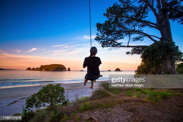 a girl plays on a swing at sunset at new zealand's haihe beach. - paesaggio marino foto e immagini stock