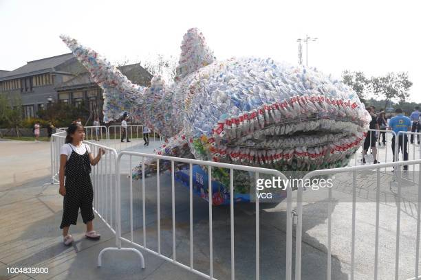 A boy poses with a 91metrelong whale made of 40000 abandoned plastic bottles for a photo at Rizhao Ocean Park on July 21 2018 in Rizhao Shandong...