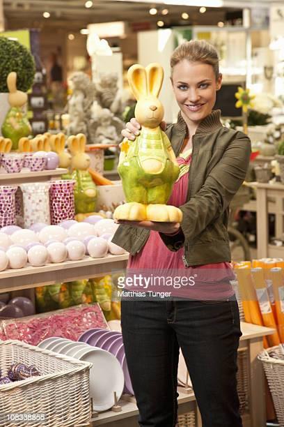 Girl posing with easter bunny