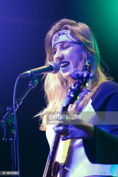 girl power teen rock singer - blonde female singers stock photos and pictures