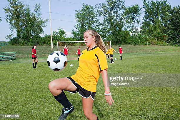 girl practicing soccer skills - chatham new york state stock pictures, royalty-free photos & images