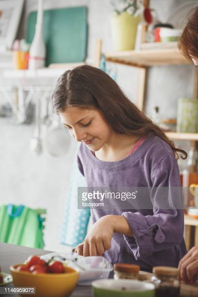 Girl preparing a healthy lunch at home