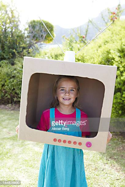 Girl pretending to be on television