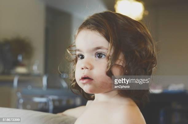 Girl profile portrait watching tv