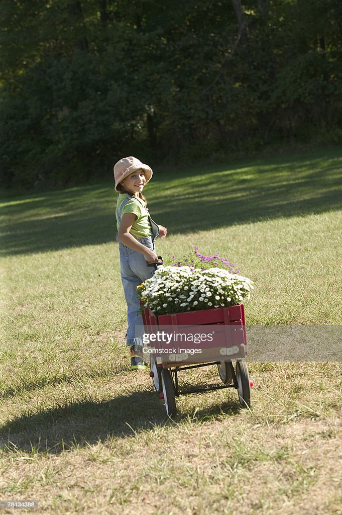 Girl pulling cart with flowers : Stockfoto