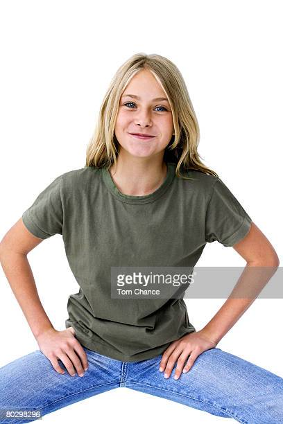 girl (13-14) pulling face, portrait - legs apart stock photos and pictures
