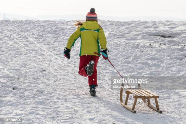 Girl pulls her sleigh across a snow-covered field in Straubing, Germany, 28 December 2014. Photo: Armin Weigel/dpa | usage worldwide