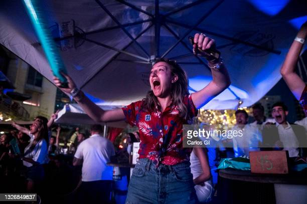 Girl reacts after England's fourth goal during the viewing of the Eurocup match between England and Ukraine in a Gibraltar fan zone on July 03, 2021...