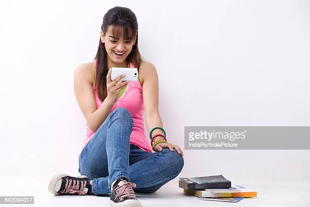 Girl reading an sms