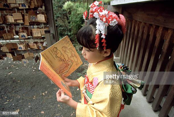 Girl Reading at the Temple