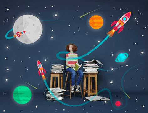 Girl reading books. Cartoon space scene - gettyimageskorea