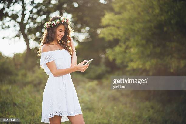 Girl reading text messages on phone