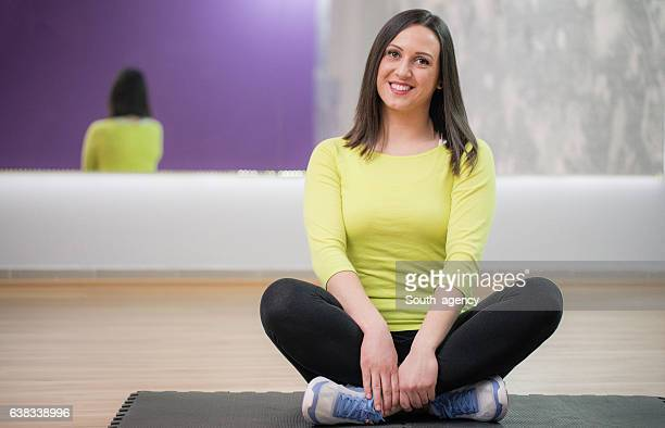 Girl relaxing in gym