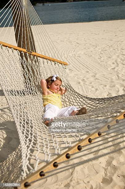 Girl relaxing on hammock