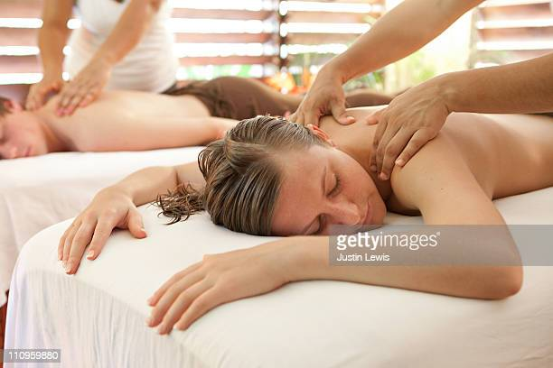 Girl relaxing while getting a massage