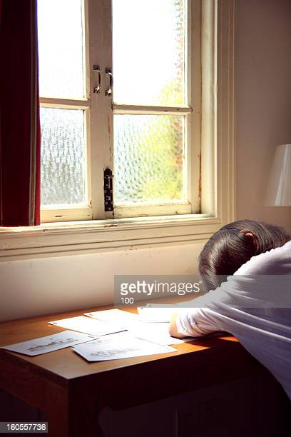 girl rest on the desk