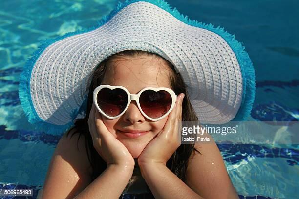 Girl resting at pool