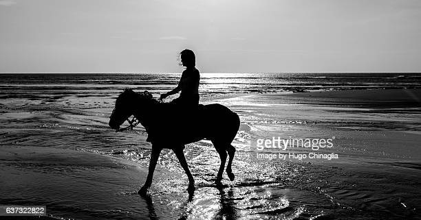 Girl Riding a horse on the beach