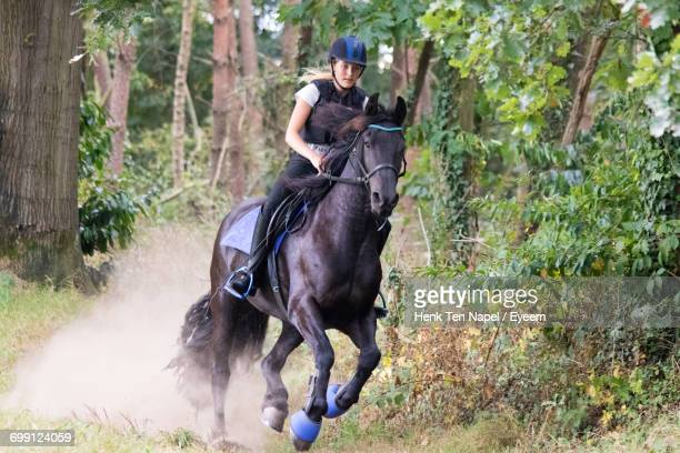 Girl Riding Horse In Forest