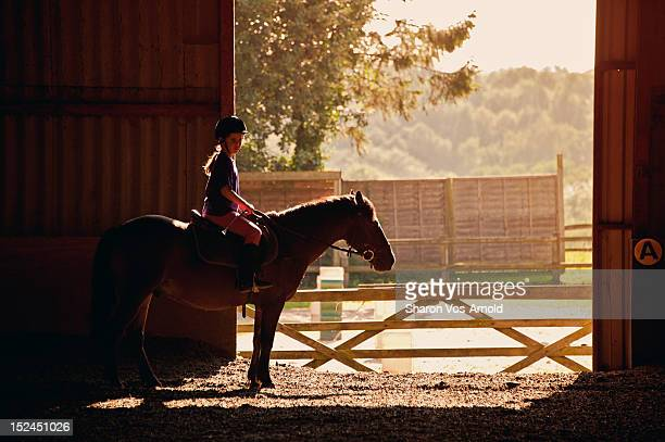 Girl riding pony, backlit by golden sun