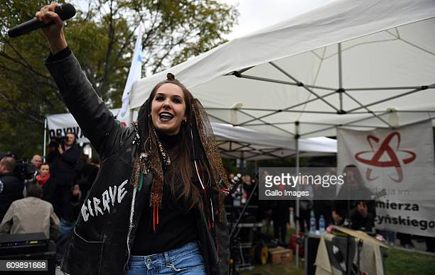 Girl rock band participates in the black protest on September 22 2016 in Warsaw Poland The action is organized to express the opposition to the...