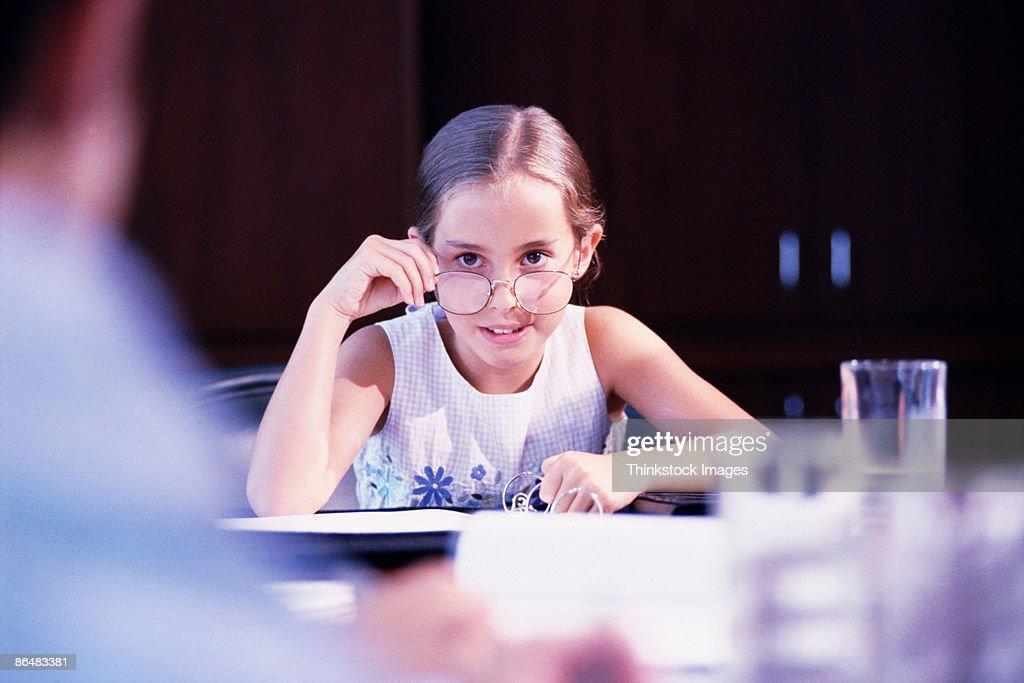 Girl running business meeting : Stock Photo