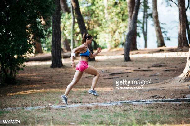 Girl running in nature
