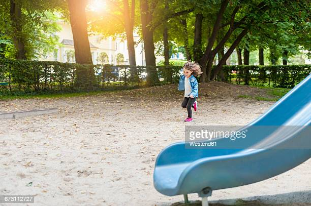 Girl running on playground