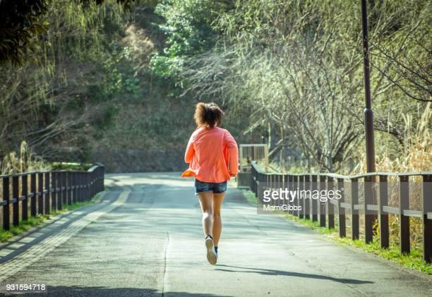Girl running on the park
