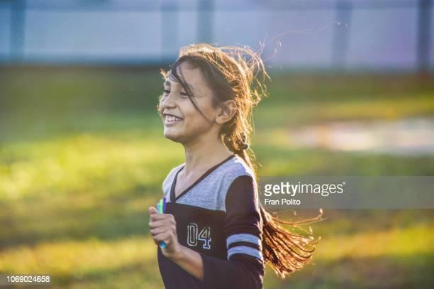 A girl running.
