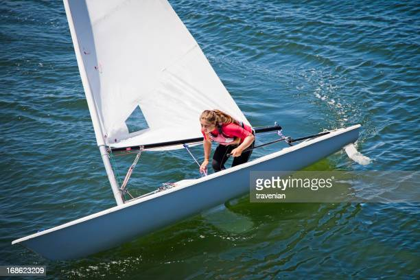Girl sailing dinghy
