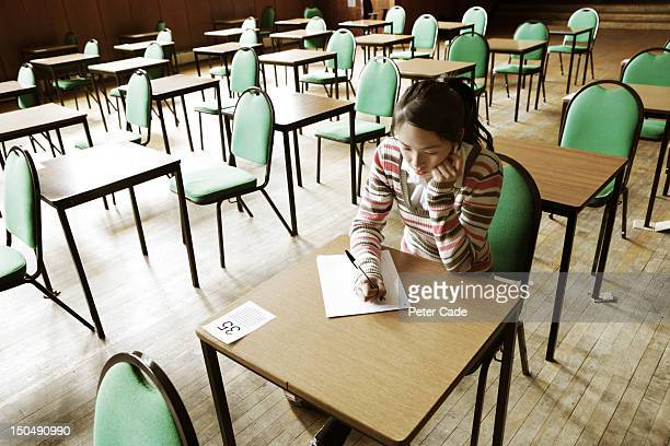 Girl sat alone in exam room