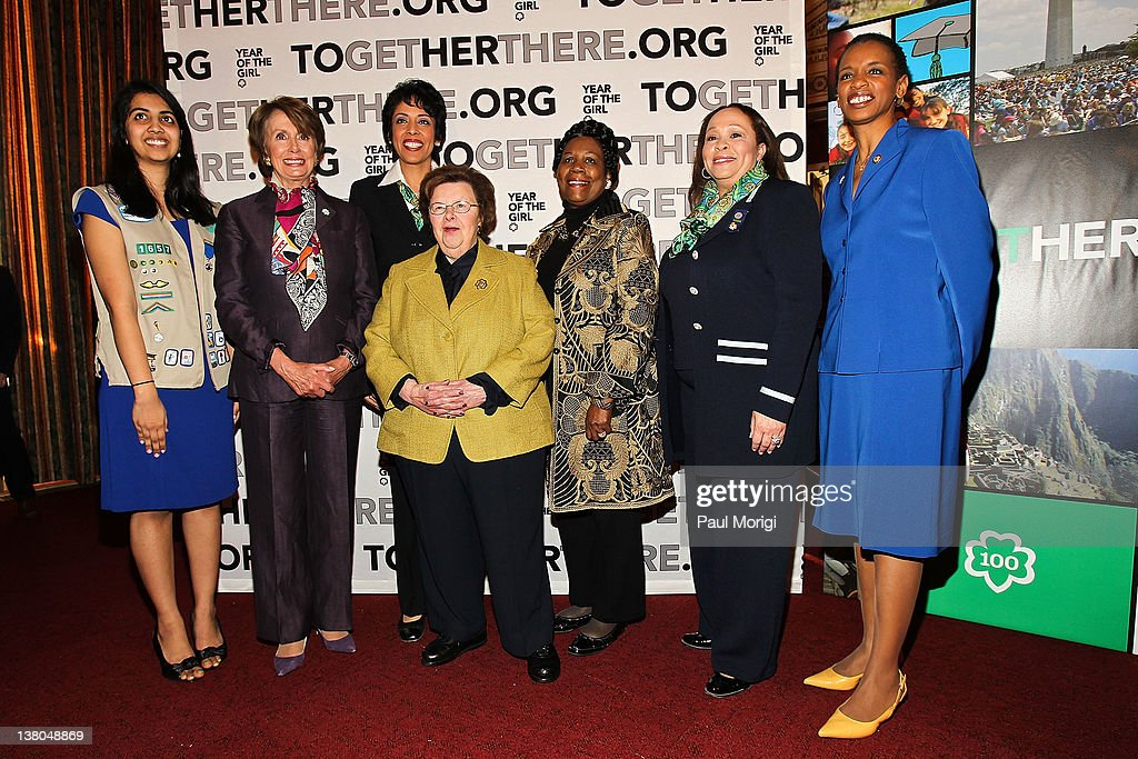 Girl Scout Gold Award Recipient Sajala Shukla, House Democratic Leader Nancy Pelosi, Anna Maria Chavez, Chief Executive Officer of Girl Scouts of the USA, Sen. Barbara Mikulski (D-MD), Sheila Jackson-Lee (D - TX), Connie L. Lindsey, National President, Girl Scouts of the USA, and REp. Donna Edwards (D-MD) pose for a photo at Girl Scouts At 100: The Launch of ToGetHerThere at Capitol Hill Cannon House Office Bldg, Caucus Room on February 1, 2012 in Washington, DC.