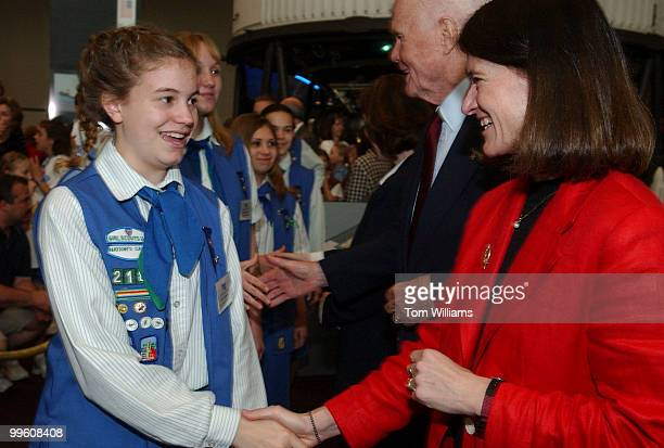 Girl Scout Lily Nelson of Troop 153 in Northern Virgina meets Sally Ride first female astronaut in space during Space Day at the Smithsonian's...