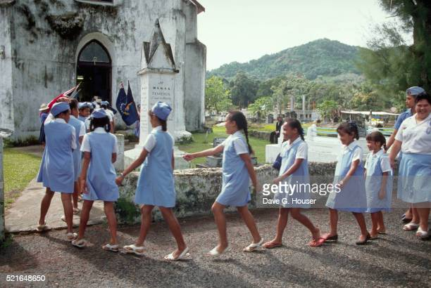 Girl Scouts at Church in Cook Islands